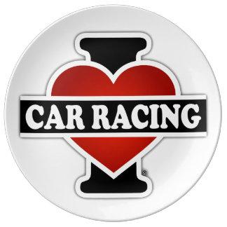 I Love Car Racing Plate