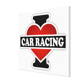 I Love Car Racing Stretched Canvas Print