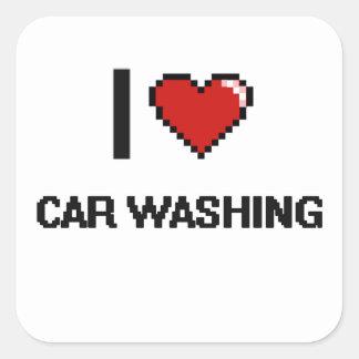I Love Car Washing Digital Retro Design Square Sticker