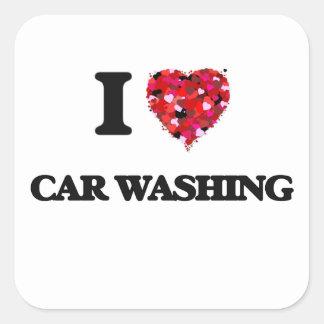 I Love Car Washing Square Sticker