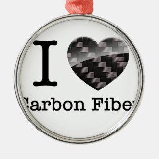 I Love Carbon Fiber Metal Ornament