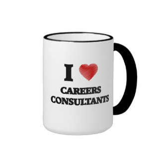 I love Careers Consultants (Heart made from words) Ringer Mug