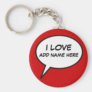 """""""I love"""" cartoon speech bubble Key Ring"""