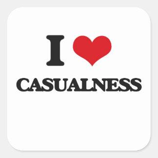 I love Casualness Square Stickers