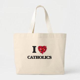 I love Catholics Jumbo Tote Bag