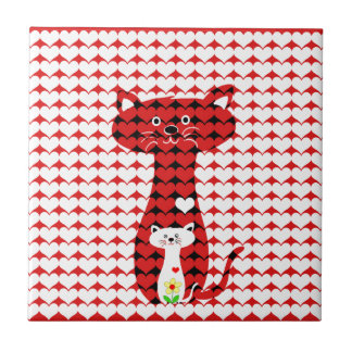 I Love Cats 2 Small Square Tile