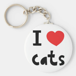 I love cats basic round button key ring