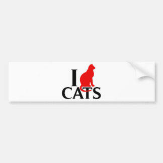 I Love Cats Bumper Sticker