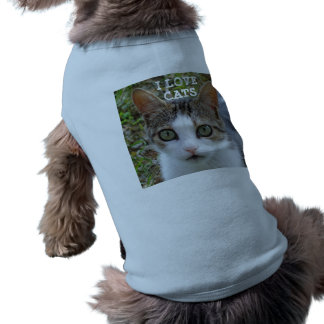 I Love Cats Doggie Ribbed Tank Top