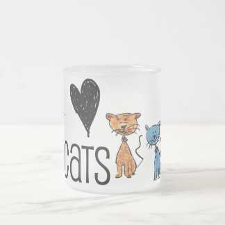 I love cats frosted glass mug