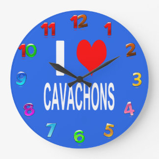 I Love Cavachons Clock, Dog Large Clock