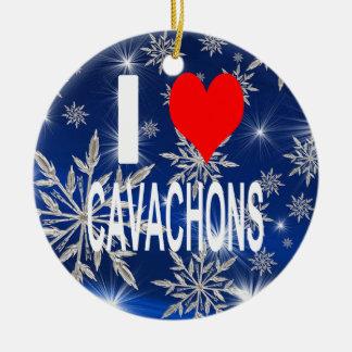 I Love Cavachons Ornament, Christmas Ceramic Ornament