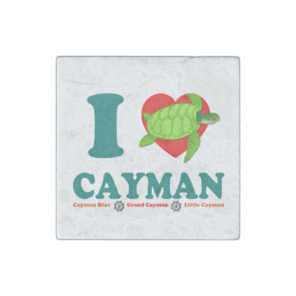 I Love Cayman Caribbean Style Souvenir Stone Magnet