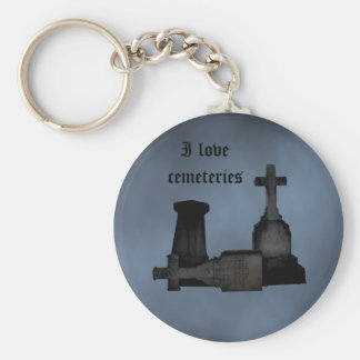 I love cemeteries gothic tombstones key ring