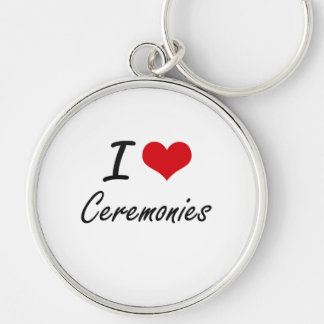I love Ceremonies Artistic Design Silver-Colored Round Key Ring