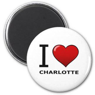 I LOVE CHARLOTTE,NC - NORTH CAROLINA 6 CM ROUND MAGNET