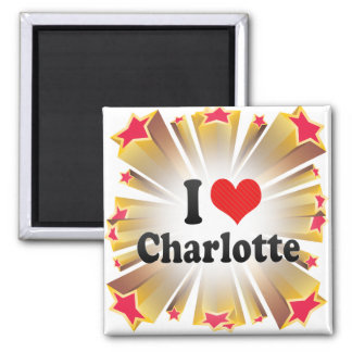 I Love Charlotte Square Magnet