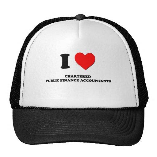 I Love Chartered Public Finance Accountants Mesh Hats
