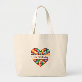 I Love Cheerleading Large Tote Bag