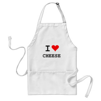 I love cheese black lettering aprons