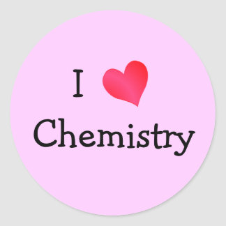 I Love Chemistry Round Sticker