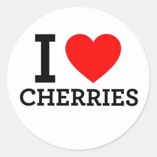 I Love Cherries Round Stickers