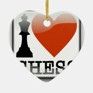 I Love Chess Sign Ceramic Heart Decoration