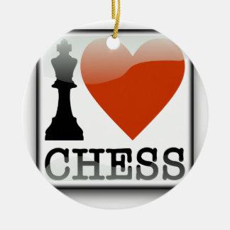 I Love Chess Sign Round Ceramic Decoration