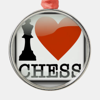 I Love Chess Sign Silver-Colored Round Decoration