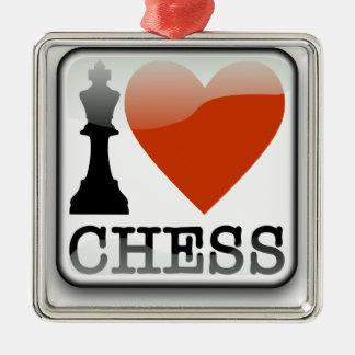 I Love Chess Sign Silver-Colored Square Decoration