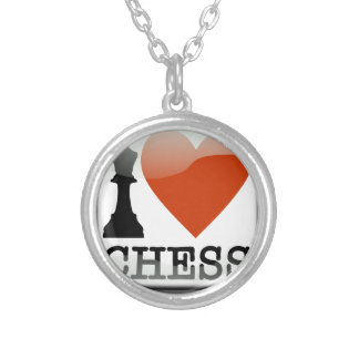 I Love Chess Silver Plated Necklace