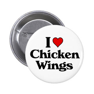 I love chicken wings 6 cm round badge