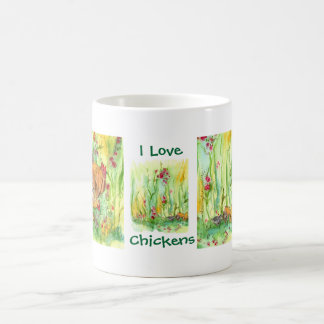 I Love Chickens Hen Rooster Chicks Watercolor Basic White Mug