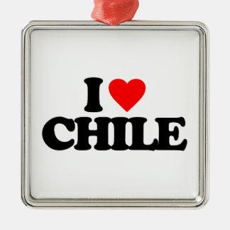 I LOVE CHILE SQUARE METAL CHRISTMAS ORNAMENT