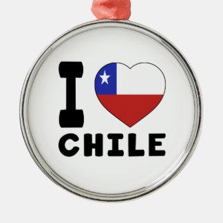 I Love Chile Silver-Colored Round Decoration