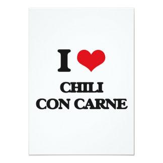 """I love Chili Con Carne 5"""" X 7"""" Invitation Card"""