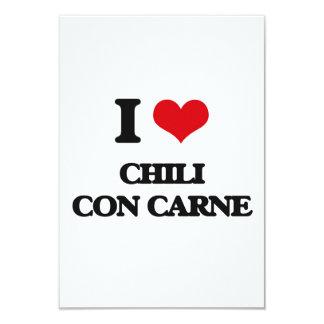 """I love Chili Con Carne 3.5"""" X 5"""" Invitation Card"""