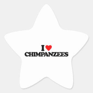 I LOVE CHIMPANZEES STAR STICKERS