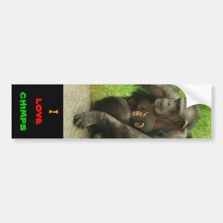 I love chimps - Sticker Car Bumper Sticker
