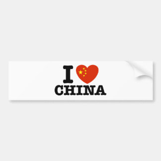 I Love China Bumper Sticker