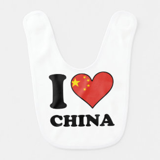 I Love China Chinese Flag Heart Bib