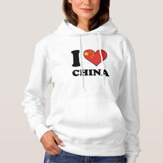 I Love China Chinese Flag Heart Hoodie