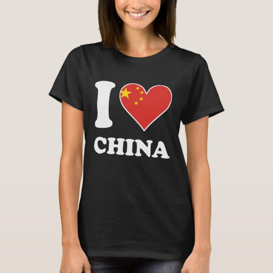 I Love China Chinese Flag Heart T-Shirt