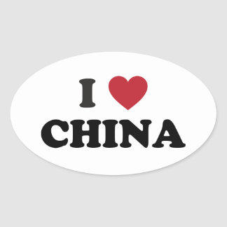 I Love China Oval Sticker