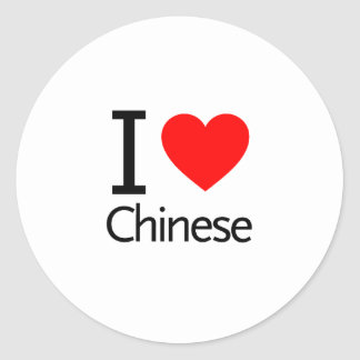 I Love Chinese Round Sticker