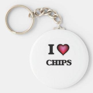 I love Chips Basic Round Button Key Ring