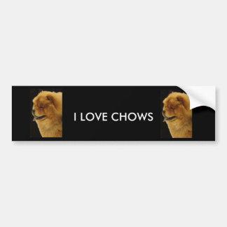 I LOVE CHOWS BUMPER STICKER