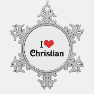 I Love Christian Snowflake Pewter Christmas Ornament