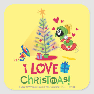 I Love Christmas - MARVIN THE MARTIAN™ Square Sticker