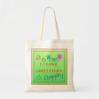 I Love Christmas Shopping Grocery Tote Budget Tote Bag
